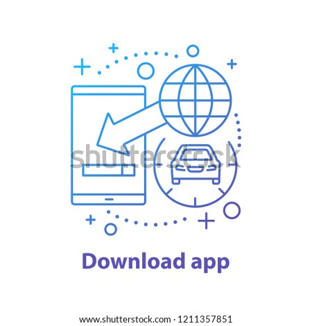 Mobile App Downloading Concept Icon Carpooling Stock Vector