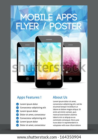 mobile app flyer poster design stock vector royalty free 164350904