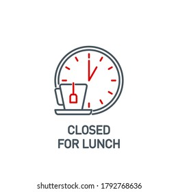 mobile app food time on the clock icon isolated on white. outline app symbol wall clock with a mug and a label tea bags. Quality element lunch break time with editable Stroke. noon on the watch banner