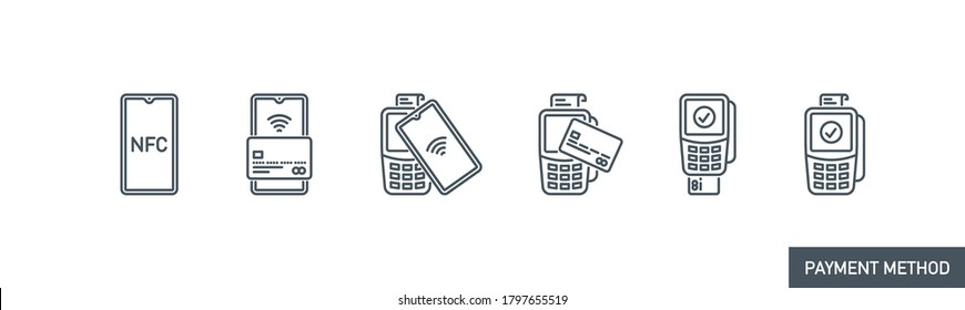 mobile app icons set contactless payment credit card or NFC smartphone via POS terminal banner isolated on white. payment method outline symbols. Acquiring payment Quality element with editable Stroke