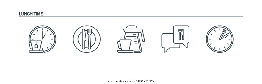 mobile app icons set food banner isolated on white. outline app symbols lunch break. Quality elements plate, cutlery: fork and knife, clock, kettle, coffee pot, cup, speech bubble with editable Stroke