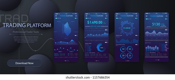 Mobile app infographic template with modern design weekly and annual statistics graphs. Pie charts, workflow, web design, UI elements.Online statistics and data Analytics.Digital money market,