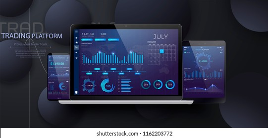 Mobile app infographic template with modern design weekly and annual statistics graphs. Stock exchange market graph on smartphone,