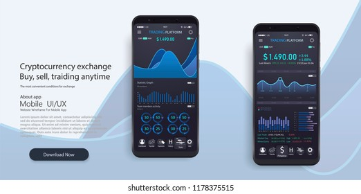 Mobile app infographic template with modern design weekly and annual statistics graphs. Pie charts, workflow, UI elements. Digital money market, investment, finance and trading. Perfect for web design