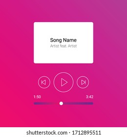 Mobile App Interface. Pink gradient Music Player. Vector Illustration