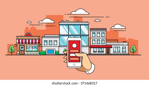 Mobile app on the background of the city in flat style