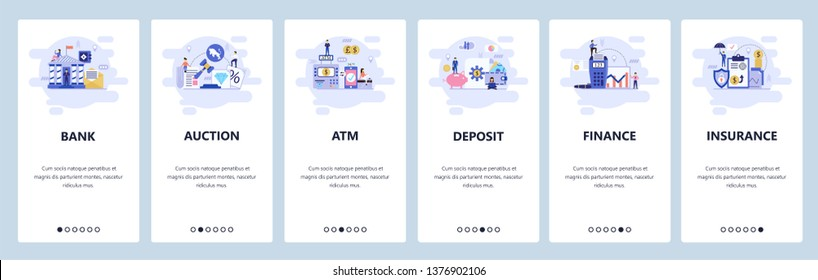 Mobile app onboarding screens. Banking and financial services, auction, atm, deposit saving account, insurance. Menu vector banner template for website and mobile development. Web site illustration