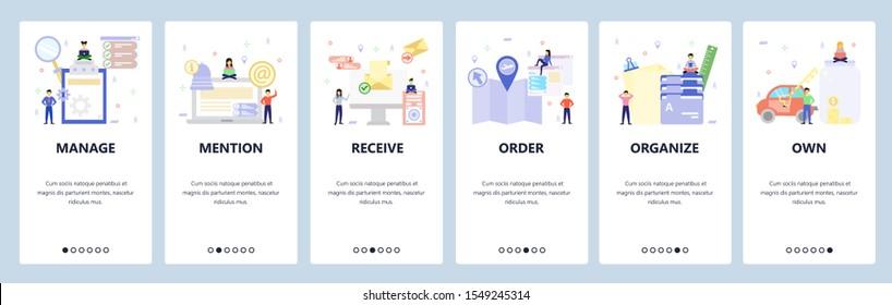 Mobile app onboarding screens. Business management, email notification, folders organization. Menu vector banner template for website and mobile development. Web site design flat illustration.
