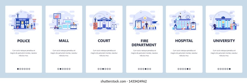 Mobile app onboarding screens. City buildings infrastructure, police, hospital, university, shopping mall. Vector banner template for website and mobile development. Web site design flat illustration.