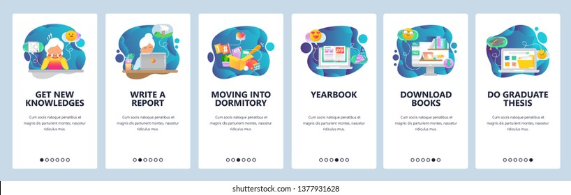 Mobile app onboarding screens. College and school education icons, yearbook, online library, thesis. Menu vector banner template for website and mobile development. Web site design flat illustration.