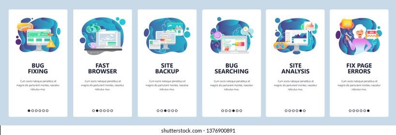 Mobile app onboarding screens. Computer bug fixing and testing, website analysis, backup. Menu vector banner template for website and mobile development. Web site design flat illustration.