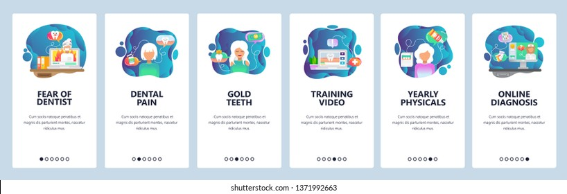 Mobile app onboarding screens. Dental care and teeth treatment, fear, dentist doctor, clinic. Menu vector banner template for website and mobile development. Web site design flat illustration.