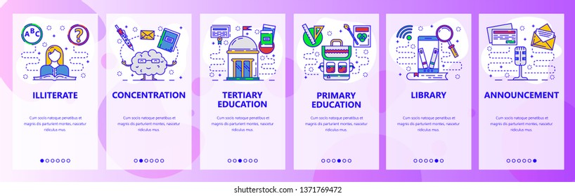 Mobile app onboarding screens. Education system, digital library in phone, illiterate. Menu vector banner template for website and mobile development. Web site design flat illustration.