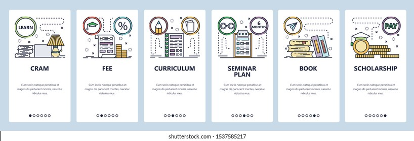 Mobile app onboarding screens. Education icons, tuition fee, scholarship, cram exam, books. Menu vector banner template for website and mobile development. Web site design flat illustration.