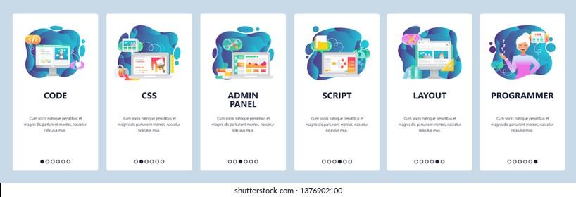 Mobile app onboarding screens. Female developer, programming code, admin panel and java script. Menu vector banner template for website and mobile development. Web site design flat illustration.