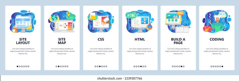 Mobile app onboarding screens. Female software engineer, html and css coding, build a site. Menu vector banner template for website and mobile development. Web design flat illustration.