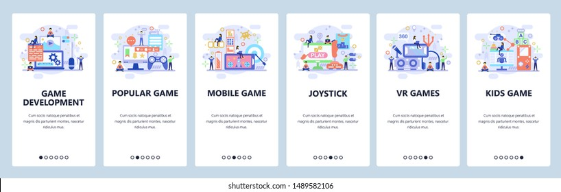 Mobile app onboarding screens. Game development, VR technology, mobile games, joystick. Menu vector banner template for website and mobile development. Web site design flat illustration.