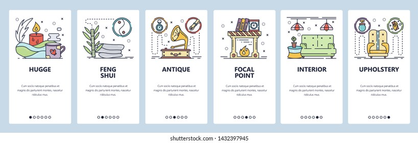 Mobile app onboarding screens. Home interior, hugge, house decoration and furniture. Menu vector banner template for website and mobile development. Web site design flat illustration.