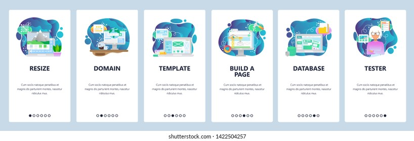 Mobile app onboarding screens. Image resize, www domain internet, template, database. Menu vector banner template for website and mobile development. Web site design flat illustration.