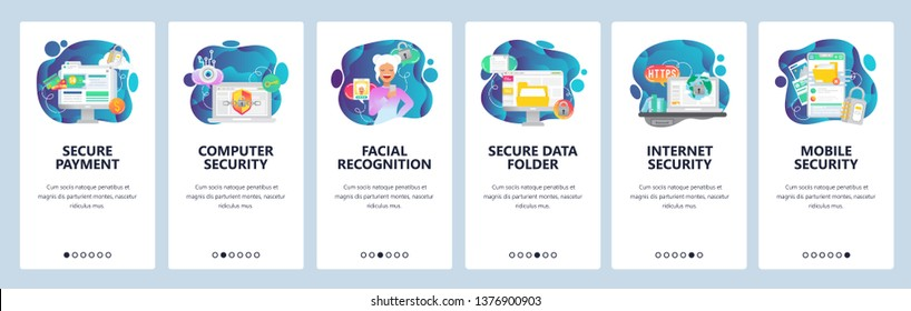 Mobile app onboarding screens. Internet security, data secure access and online payment, facial recognition. Menu vector banner template for website and mobile development. Web site flat illustration.