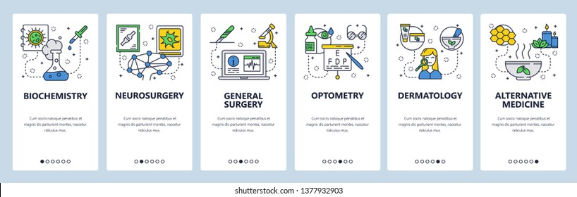 Mobile app onboarding screens. Medicine and hospital icons, lab, surgery, optometry, herbs. Menu vector banner template for website and mobile development. Web site design flat illustration.