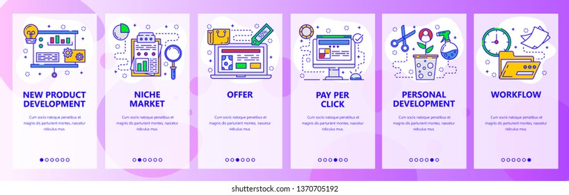 Mobile app onboarding screens. New product development, marketing research, business workflow. Menu vector banner template for website and mobile development. Web site design flat illustration.