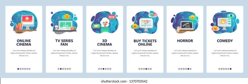 Mobile app onboarding screens. Online cinema, movie tickets, 3D glasses, TV series. Menu vector banner template for website and mobile development. Web site design flat illustration.
