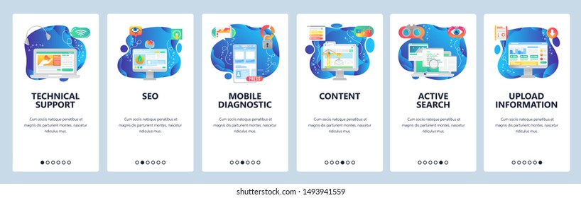 Mobile app onboarding screens. Phone application wireframe, medical technology, content building, search. Menu vector banner template for website and mobile development. Web site design flat