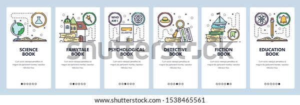 Mobile app onboarding screens. Science book, fairytale, detective, fiction and non-fiction books, education. Menu vector banner template for website and mobile development. Web site design flat