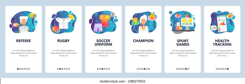 Mobile app onboarding screens. Sport referee, rugby and soccer uniform, sportsman health profile . Menu vector banner template for website and mobile development. Web site design flat illustration.