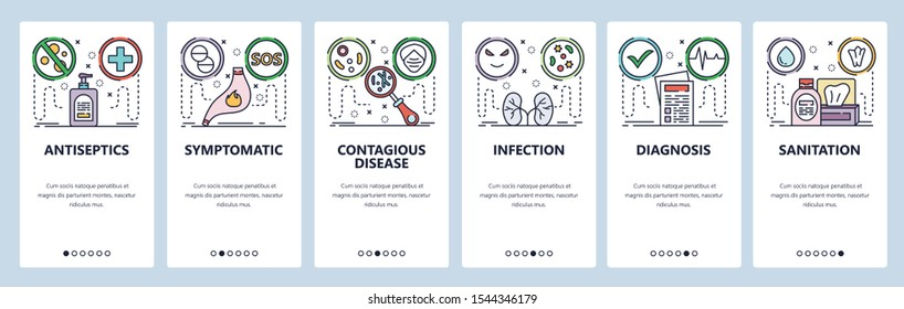 Mobile app onboarding screens. Stomach pain, health problems, disease, kidney infection, antiseptic. Menu vector banner template for website and mobile development. Web site design flat illustration.