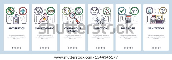 Mobile App Onboarding Screens Stomach Pain Stock Vector Royalty Free 1544346179