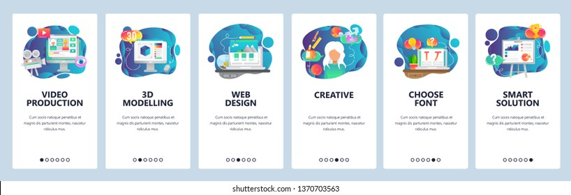 Mobile app onboarding screens. Video production, 3d modelling, creative web design. Menu vector banner template for website and mobile development. Web site design flat illustration.