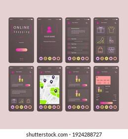 Mobile App Online Shopping UI UX Kit Gray Pink Concept Vector Design