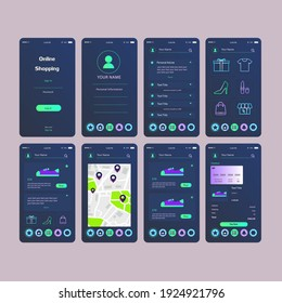 Mobile App Online Shopping UI UX Kit Dark Blue Turquoise  Concept Vector Design