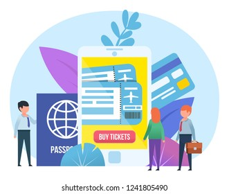 Mobile app for purchasing airplane tickets. Small people stand near big smartphone, passport, credit card. Poster for social media, web page, banner, presentation. Flat design vector illustration