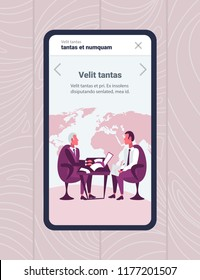 mobile app screen businessmen sitting workplace online business interview concept boss employer employee communication report using laptop holding envelope brainstorming vertical copy space flat