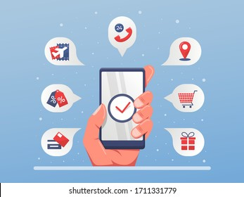 mobile app service solution one application for all needs. like buying travel ticket, online shop, payment, and customer services , hand holding smartphone illustration.
