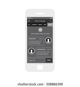Mobile app single screen ui kit. Write message chat screen.