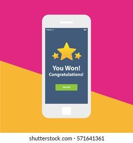 Mobile app single screen ui kit. Congratulations you won screen.