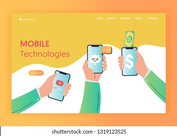 Mobile App Technologies Landing Page Template. Hand with Smartphone Mobile Services Concept. Internet Banking, E-mail for Website Banner. Vector illustration