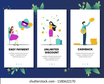 Mobile app templates concept vector illustration flat design. Easy payment, unlimited discount, cashback, online shopping concept.
