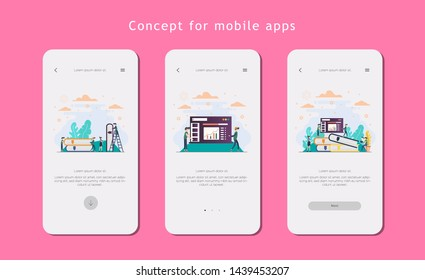 mobile app templates concept vector illustration flat design.- Vector Template
