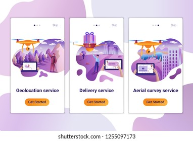 Mobile app templates of drone or quadcopter service for any use. The Flat design concept of pages design with mobile banners. Vector illustration of scenes with people.
