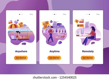 Mobile app templates of Online assessment and remote job. The Flat design concept of pages design with mobile banners. Vector illustration of scenes with modern people at work.