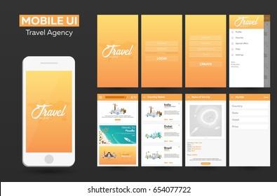 Mobile app Travel agency Material Design UI, UX, GUI. Responsive website