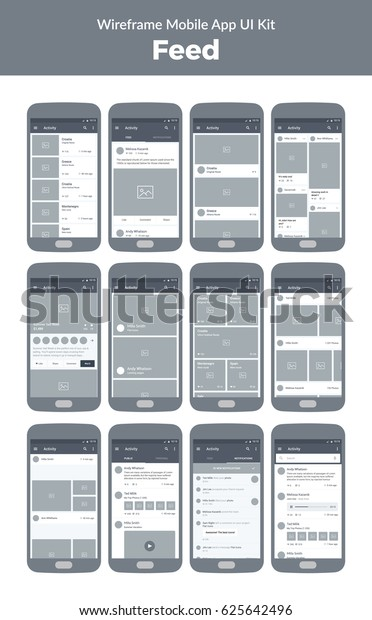 Mobile App Ui Design Wireframe Kit Stock Vector (Royalty Free) 625642496