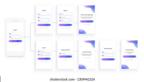 Mobile app UI kit. Sign up form, sign in page. Full Set. Login, registration, check email, reset password and forgot password screens. Trendy purple colors. Realistic mock up of white smartphone.