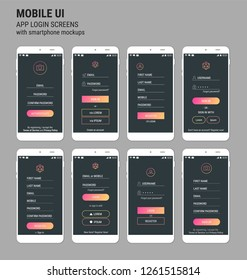Mobile App UI Sign In and Sign Up screens mockup kit