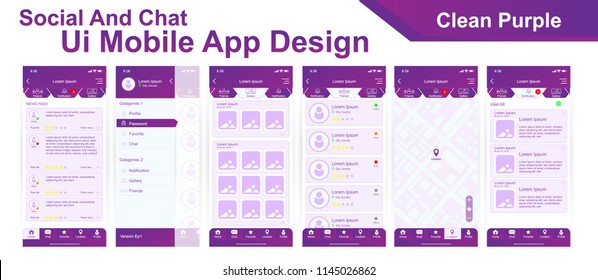 Mobile app UI, UX materials design of Social Chat user interface with hamburger menu, map, notification, home screen, favorite, profile. Clean Purple color theme. Vector EPS10 template.
